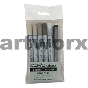 5pc Warm Greys + 0.3 Multiliner Ciao Copic Marker