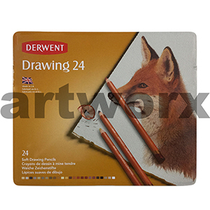 24pc Tin Drawing Derwent Pencils