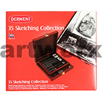 35pc Sketching Collection Set Wooden Box Derwent