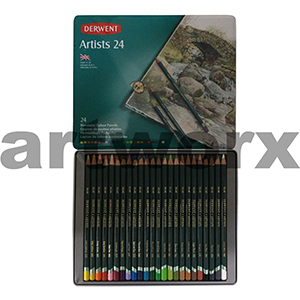 24pc Tin Artists Derwent Pencils