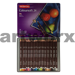 24pc Tin Colour Soft Derwent Pencils