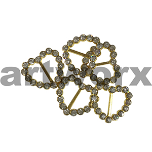 3pk 10mm Gold Heart Diamante Buckle