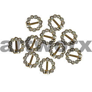 8pk 4mm Gold Diamante Round Buckle