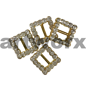 4pk 5mm Gold Square Diamante Buckle