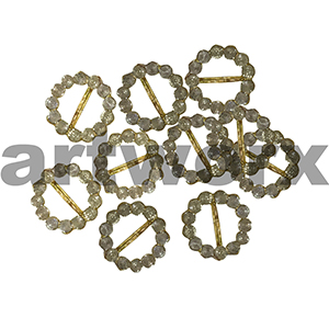 10pk 8mm Gold Round Diamante Buckle