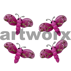 5pc Hot Pink 6x4cm Dragonfly Stickers