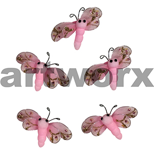 5pc Pink 6x4cm Dragonfly Stickers