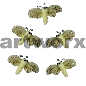 5pc Yellow 6x4cm Dragonfly Stickers