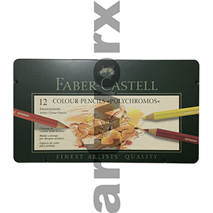 12pc Tin Polychromos Pencils Faber Castell