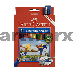 36pc Watercolour Pencils with Sharpener Playing & Learning Faber-Castell