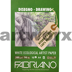 200 gsm A4 50 Sheets Fabrino White Ecological Artist Paper