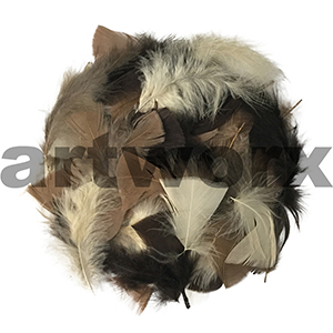 Natural Bag of Feathers (cream, brown and chocolate) 10gm