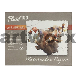 "300gsm 8x10"" 12 Sheet Fluid 100 Cold Press Watercolour Pad"
