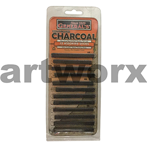 12pc Assorted Black General's Compressed Charcoal Sticks