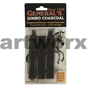 3pc Black Jumbo General's Compressed Charcoal Sticks