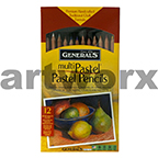 12pc Multi Pastel Pencils Generals
