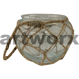 Glass Bowl Vase with Rope