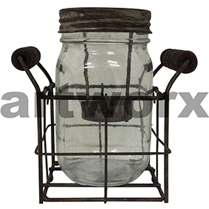 Glass Mason Jar Tealight Holder in Metal Rack