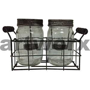 Glass Mason Jar Tealight Holder in Metal Rack Double