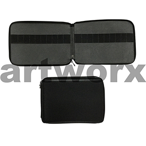 120 Global Art Pencil Case Black Genuine Leather