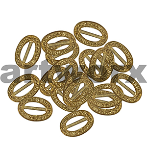 20pk 10mm Metal Gold Oval Buckle