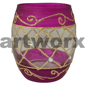 Handpainted Egg Shape Candle Holder Pink