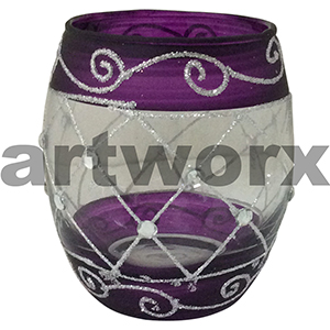 Handpainted Egg Shape Candle Holder Purple