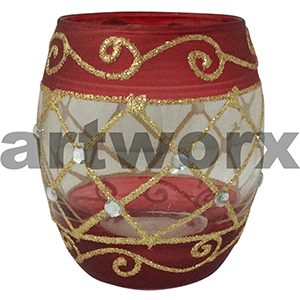 Handpainted Egg Shape Candle Holder Red