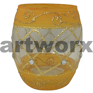 Handpainted Egg Shape Candle Holder Yellow