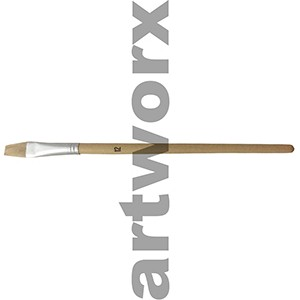 Flat no.12 Hog Bristle Natural Long Handle Paint Brush