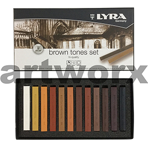 12pc Lyra Brown Tone Hard Pastels