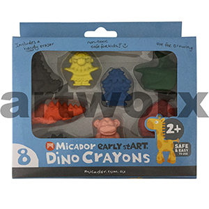 Micador Early Start Dino Crayons 8 Pack