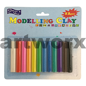 12pc Assorted Coloured Modelling Clay