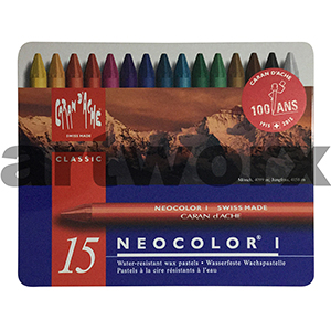 Neocolor Caran D'Ache Wax Oil Crayons NON Water Soluble Tin 15