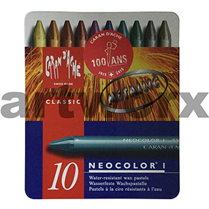 10 Metallic Neocolor Caran D'Ache Wax Oil Crayons NON Water Soluble
