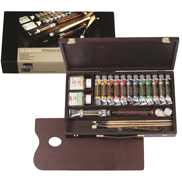 12 Tubes 40ml + 1 Tube 60ml & Accessories Rembrandt Professional Oil Wooden Set