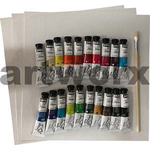 20x20ml Pebeo Acrylic Paint Set PLUS Brush & Canvas Boards