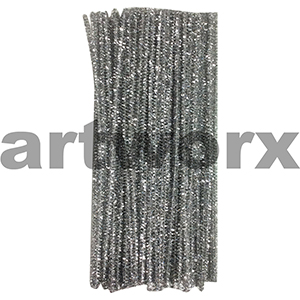 Colored Pipe Cleaners Metallic Silver 100pk