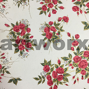 Red Cluster Rose Japanese Rice Paper 50x75cm