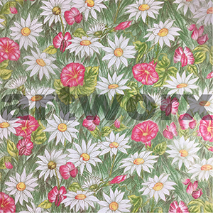 Red White Daisies Japanese Rice Paper 50x75cm