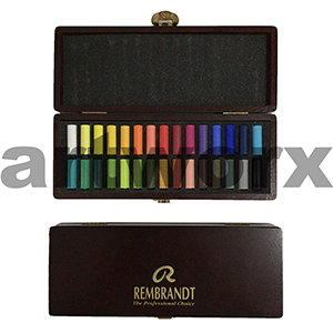 30pc Half Length Wooden Box Basic Rembrant Soft Pastels