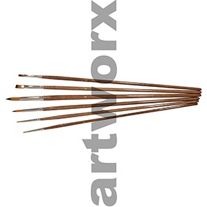BS-101-6 6pce Golden Synthetic Round 0, 2, 6, 10 and Flat 6 and 2 Paint Brush Set