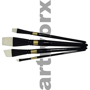 BS-108-4 White Taklon Paint Brush Set