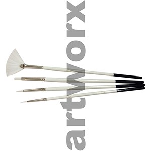 B7-708-4 White Taklon Fan Paint Brush Set
