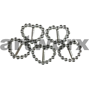 5pc Silver 2.5x2cm Heart Diamante Look Buckle