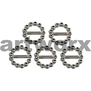5pc Silver 2cm Round Diamante Look Buckle