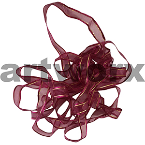 17mm Burgundy with gold & silver stitch ribbon