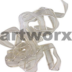 17mm White with gold & silver stitch ribbon