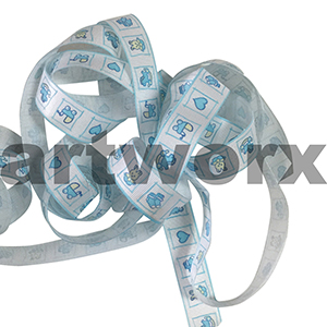 Ribbon per metre printed ribbon grosgrain Baby Bunny Blue