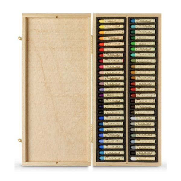 50pc Sennelier Wooden Box Artist Oil Pastel Set
